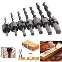 7pC 3-10mm HSS 5 Flute Countersink Drill Bit Set Carpentry Reamer 7pC 3-10mm HSS 5 Flute Countersink Drill Bit Set Carpentry Reamer Woodworking
