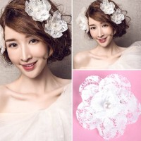 New 2Pcs Hairpin Bridal Lace Crystal #A Beads Hair Clip Flower Headpiece Wedding