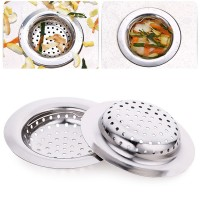2 Pcs Stainless Steel Kitchen Sink Strainer Waste Plug Drain Stopper Filter Basket