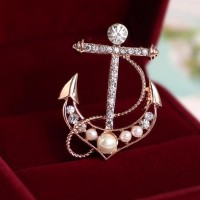 Anchor Modelling Pearl Brooch Pin Crystal Rose Gold Plated Breastpin Wedding