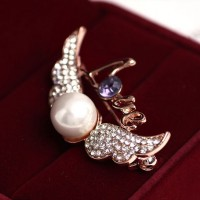 Wedding Angel Wings Pearl Brooch Pin Crystal 18k Rose Gold Plated Breastpin