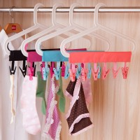 2Pc Travel Foldable Magic Cloth Clothing Coat Hanger Drying Rack With Clips
