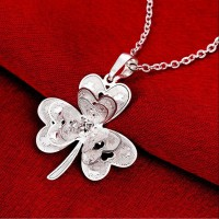 Women Clover Pendant 925 Pure Chain Silver Necklace Valentine's Day Gift New