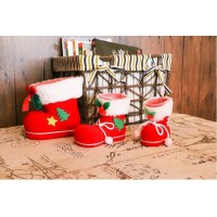 2Pcs Xmas Candy Boots Bag Christmas Tree Decoration Ornaments Red Stocking Kids Gifts