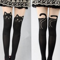 Sexy Women Cat Gipsy Mock Knee High Hosiery Pantyhose Tattoo Legging Tights