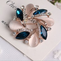 Flower Bauhinia Brooch Pin Crystal 18k Rose Gold Plated Breastpin Wedding New