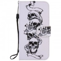 Painted Skull flip leather case for Samsung Galaxy S3 S4 S5 S6 edge G360 G530 card cover Card slot wallet with kickstand phone stand