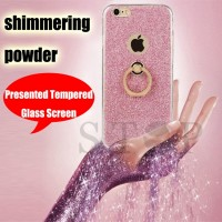 Flash shimmering powder TPU Cases for iphone 4 4s 5 5s 6 6s 6plus 6s plus 7 7plus with kickstand ring for girl women