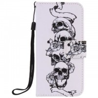 Painted Skull flip leather case for iphone 5 5s 6 6s 7 plus card cover Card slot wallet with kickstand phone stand