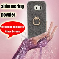 Flash shimmering powder TPU Cases for Samsung galaxy Note 3 Note 4 Note 5 S6 S7 edge plus J3 J5 J7 with kickstand ring for girl women