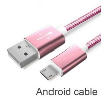 USB Cable 2A Metal Braided Cord Data Wire Charger cable For Samsung Sony HTC for Huawei Microusb