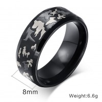 Fashion Jewelry Luxury titanium steel camouflage Ring for men/women black finger rings drop shipping