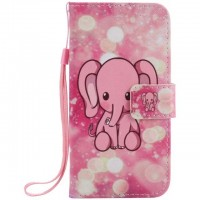 Painted pink elephant flip leather case for Samsung Galaxy S3 S4 S5 S6 edge G360 G530 card cover Card slot wallet with kickstand phone stand