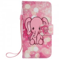 Painted pink elephant flip leather case for iphone 5 5s 6 6s 7 plus card cover Card slot wallet with kickstand phone stand