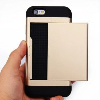 Multifunction case for iphone 5 / 5s / 6 / 6s / 6 plus / 6s plus / 7 / 7 plus credit card slot wallet Double layer protection Shockproof
