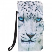 Painted White leopard flip leather case for iphone 5 5s 6 6s 7 plus card cover Card slot wallet with kickstand phone stand