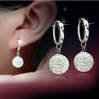 Women Girl Retro 18K White Gold Filled Crystal Rhinestone Hoop Earrings Gift