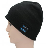 Soft Warm Beanie Hat Wireless Bluetooth Smart Cap Headphone Headset Speaker Mic Black