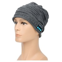 Wireless Bluetooth Beanie Knit Hat Cap Built-in Stereo Speakers Headphones Heatset for Fitness Outdoor Sports Skiing Running Skating Walking (gray)