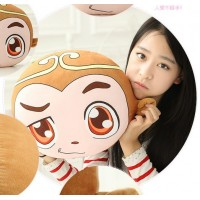 Creative cute monkey mascot warming his hands hold pillow cushion for leaning on of amphibious toy doll birthday gift