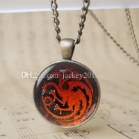 12pcs Retro Targaryen Fire and Blood Dragon Jewelry Cabochon Glass The Game of Thrones Photo Pendant Necklace Red Fire Dragon Bage Chain Necklace T1021