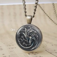 12pcs Vintage Fire and Blood Dragon charm pendant The Game of Thrones Daenerys Targaryen Sigil Jewelry Glass Dome Red Fire Dragon Bage Chain Necklace T1022