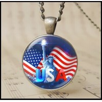 12pcs trendy flag pendant of American Independence Day 4th of july charm jewelry Statue of Liberty torch Necklace Holiday gifts T1015