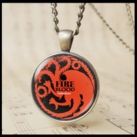 12pcs The Game of Thrones Targaryen Fire and Blood Pendant Necklace 3D Red dragon crest Bage cabochon glass Charm Jewelry men women necklace T1019