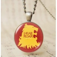 12pcs 3D Cabochon Glass wolf pendant necklace Hear Me Roar Lannister charm jewelry a song of ice and fire art necklace for Men Women T1027