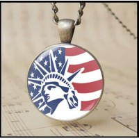 12pcs The American flag art photo Pendane Necklace Fashion The Statue of Liberty charm jewelry antique bronze alloy and 3d Cabochon rounded glass USA National Flag chain necklace T1014