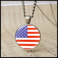 12pcs Classical the Old Glory pendant fashion Glass American USA National Flag charm necklace usa Pendant Pendant Jewelry the Stars and the Stripes gift T1013