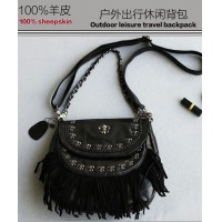 Goat leather tassels small round package/punk/wind/rivet head layer sheepskin splicing bag/leather shoulder bag/magnetic buckle chain/handbag