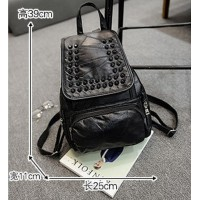 Sheepskin backpack female goat splicing backpack backpack outdoor street fashion rivet recreation bag specials