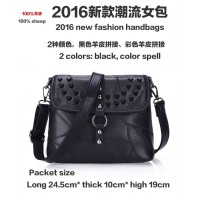 China sheepskin bags manufacturing broken stitching female black leather color cross stitching leather handbag 2 colors small bag lady