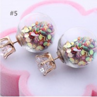 Cute Transparent Candy Color Sequin Double Side Round Pearl Earrings Resin Crystal Ball Ear Stud