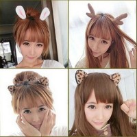 Christmas Halloween Cartoon Cat Ears Rabbit Ears Antlers Devil Horns Leopard Headband Hairband 10 Models Optional