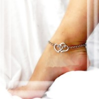 Classic Double Heart Pattern Alloy Anklet(Golden,Silver) 1 Pcs