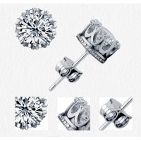 Women's Men's Fashion Clear 925 Sterling Silver Crown Style Rhinestone Stud Earrings