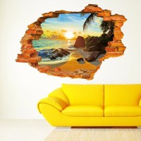 3D Beach Wall Decals 38 Inch Removable Sea Wall Art Stickers Home Decor