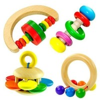 Wooden Bell Rattle Handbell Funny Musical Toy Educational Percussion Instrument for Baby Kid ( 4 pcs Will Be Included )