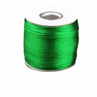 2mm Green Nylon Cord+Jewelry Findings Accessories Rattail Satin Macrame Rope Shamballa Bracelet Thread Beading Cords 60m/Roll