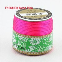 2mm Dk Neon Pink Nylon Cord Jewelry Findings Accessories Rattail Satin Macrame Rope Shamballa Bracelet Beading Cords 60m/Roll