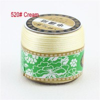 2mm Cream Rattail Stain Nylon Cord Jewelry Findings Accessories Macrame Rope Shamballa Bracelet Beading Cords 60m/Roll
