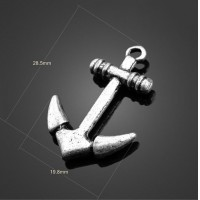100pcs Antique Silver Lovely Anchor Charms Pendant-DIY Jewelry Findings Earrings Necklace Bracelets Accessories 28.5mm X 19.8mm