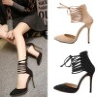 Sexy Strappy High Heels Shoes Woman Lace Up Heels Cutout Wedding Shoes Suede Leather Strappy Pumps Women Lace Up Pointed Heels