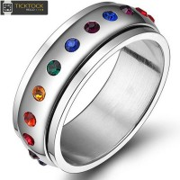 Mixed Men's Jewelry Rainbow Transport Ring titanium Stainless Steel rotatable Design hot sellMixed Men's Jewelry Rainbow diamond