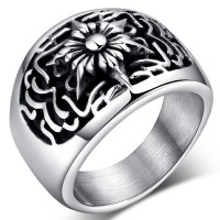 Jewelry Stainless Steel Fashionable Flower PUNK Rings for Men,Jewelry Punk Rock Men's Stainless Steel Skull Biker Ring