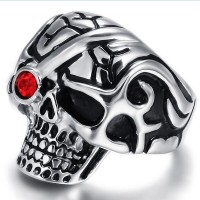 Retro trend of personalized punk ring titanium steel skull inlaid ruby ring,Popular personality punk style jewelry with red CZ diamond