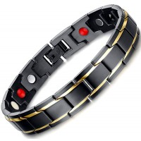 4 in 1 Germanium+magnets+negative ion+far infared Fashion Men's Gold black Plated Bracelet Magnetic Bracelet Jewelry Bracelet For Sale