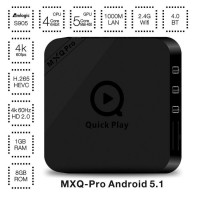 Upgraded S905 tv box Quad Core MXQ Pro Andorid 5.1 64-bit H.265 Android OTT 1GB 8GB 2.4GHz WiFi BT4.0 H.265 KODI Full Loaded HD Media Player